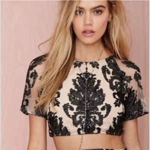 For Love and Lemons Lace Ethereal Crop Top S EUC